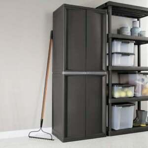 4 Shelf Cabinet Garage Storage Black, Sterilite Garage Storage Cabinets