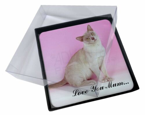 4x Burmese Cat 'Love You Mum' Picture Table Coasters Set in Gift Box, AC32lymC