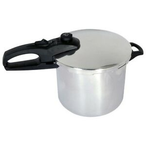 Chef 6 qt quart stainless steel pressure cooker ul safe tri ply base