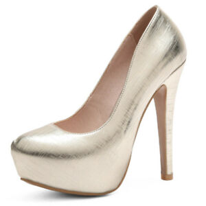 Women-Sexy-High-Heels-Round-Toe-Platform-Slip-on-Wedding-Pumps-Shoes-Size-33-48