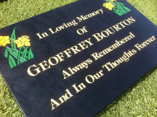 Black Granite Memorial Tablet Deeply Engraved to your requirements