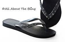 Havaianas flip flops or Cariris wedge using Swarovski Black crystals