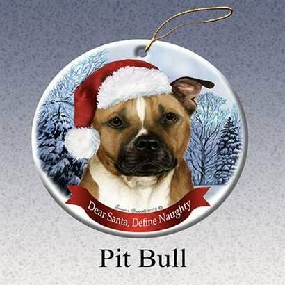 Pit Bull Dog Santa Hat Christmas Ornament Porcelain China USA-made
