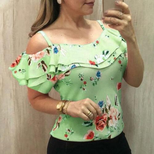 Damen Kalte Schulter Tops Bluse Blumen Kurzarm T-Shirts Oberteile Freizeit Party