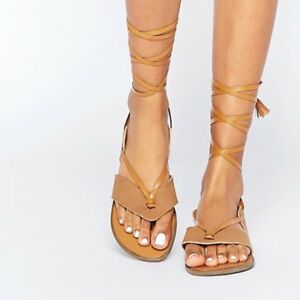 0ab15f3a1f2 Image is loading Truffle-Collection-Asos-Gladiator-Tie-Sandals-BNWT-UK-