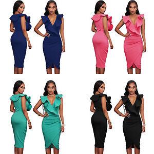 Sexy-Ruffle-V-Neck-Wrap-Midi-Slim-Formal-Office-Evening-Club-Bodycon-Party-Dress