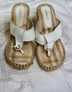 6ba370cd6156 Image is loading Burberry-Espadrille-Pink-Plaid-Thong-Wedge-Sandals-Sz36
