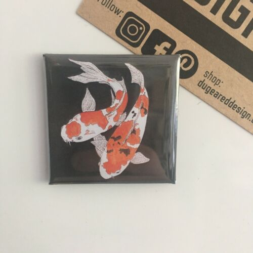 Koi Carp aimant Japonais Petit aimant de réfrigérateur poisson Bonne Chance Cadeau carré