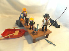 Playmobil City Life Camping Family w/ Dog, Row Boat, Boat Dock w Fishing Pole