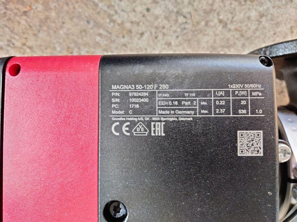 Cirkulationspumpe, Ny Grundfos Magna3 50-120F 280