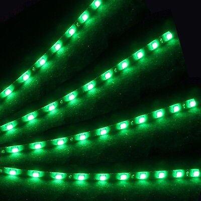 4pcs 15 LED 30cm Car Auto Flexible Waterproof Strip Light SMD 12V Sales Green Q