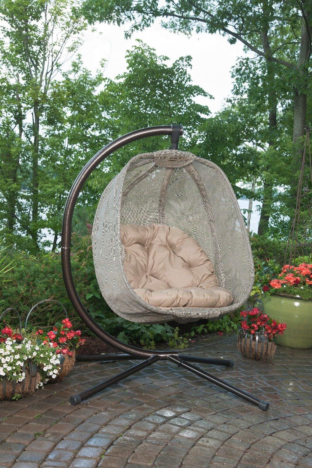Silla huevo colgante al aire libre porche Jardín Columpio Cojín Asiento Muebles Soporte De Acero