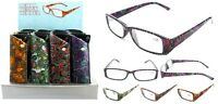 Ladies Henna Pattern Plastic Fashion Reading Glasses With Pouch + Free Gift
