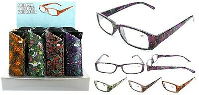 New Ladies Henna Pattern Plastic Fashion Reading Glasses with Pouch + FREE GIFT!