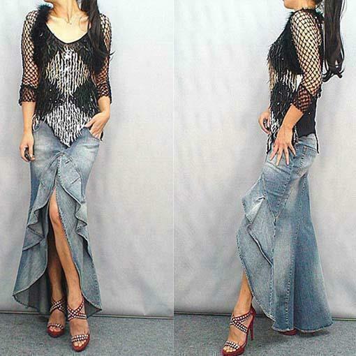Vintage Womens Jeans Mermaid Maxi Ruffles Denim Asymmetric Hem Dress Long Skirt