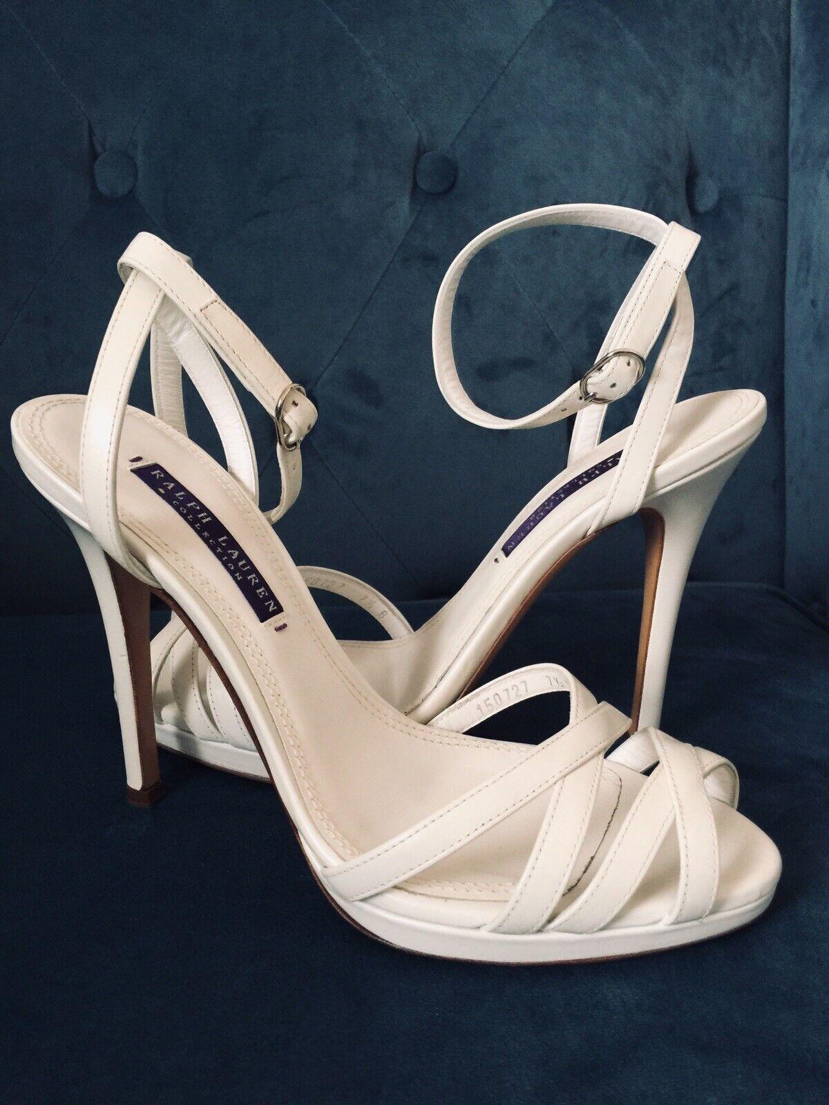 migliore offerta Authentic Ralph Lauren Collection bianca Leather Leather Leather Sandal Heels Dimensione 7.5  edizione limitata