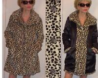 East 5th Reversible Leopard Cheetah Faux Fur Coat Rhinestones Accents Xl