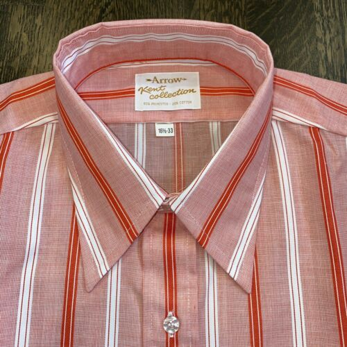 NEW Vtg 60s Arrow KENT Dress Shirt Disco Red Pink