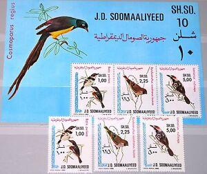 SOMALIA-1980-294-96-Block-10-491-93a-einheimische-Voegel-Local-Birds-Fauna-MNH