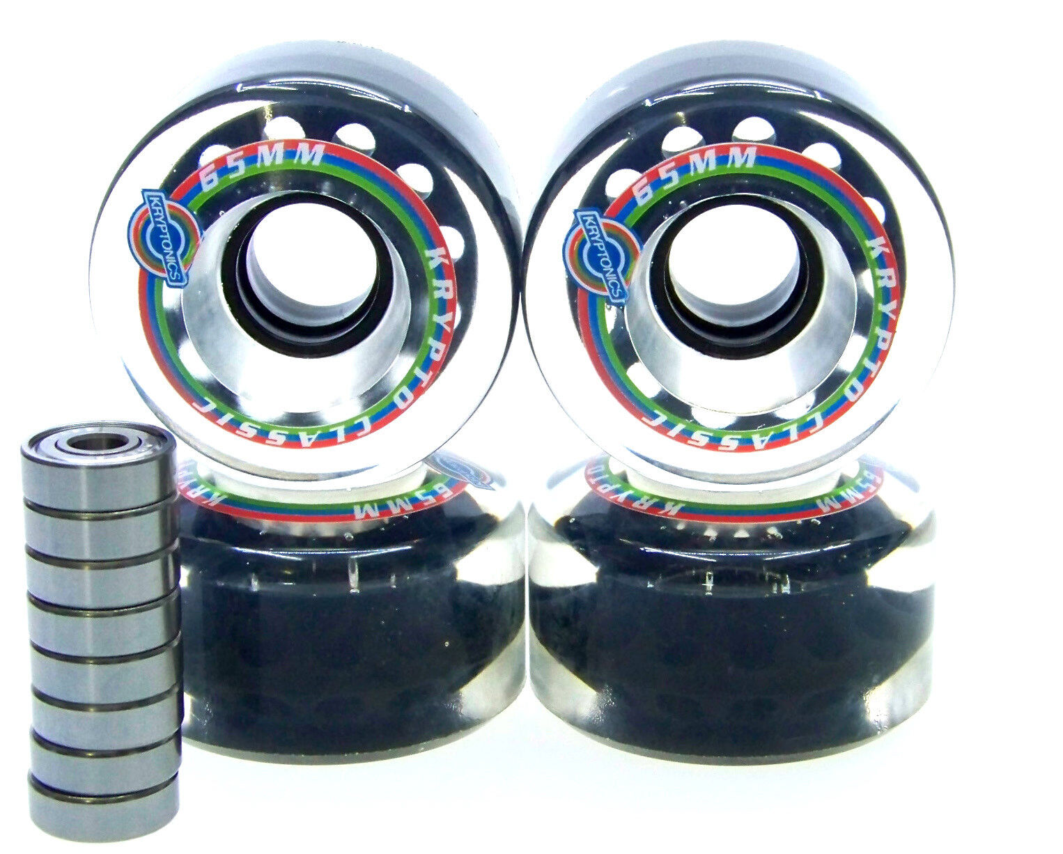 Longboard Rolle Kryptonics Classic 65mm 65mm 65mm / 78A ABEC Lager Set Ersatzrolle CLEAR 17fd13