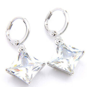 European-Fashion-Jewelry-Gift-White-Fire-Topaz-Square-Silver-Dangle-Earrings