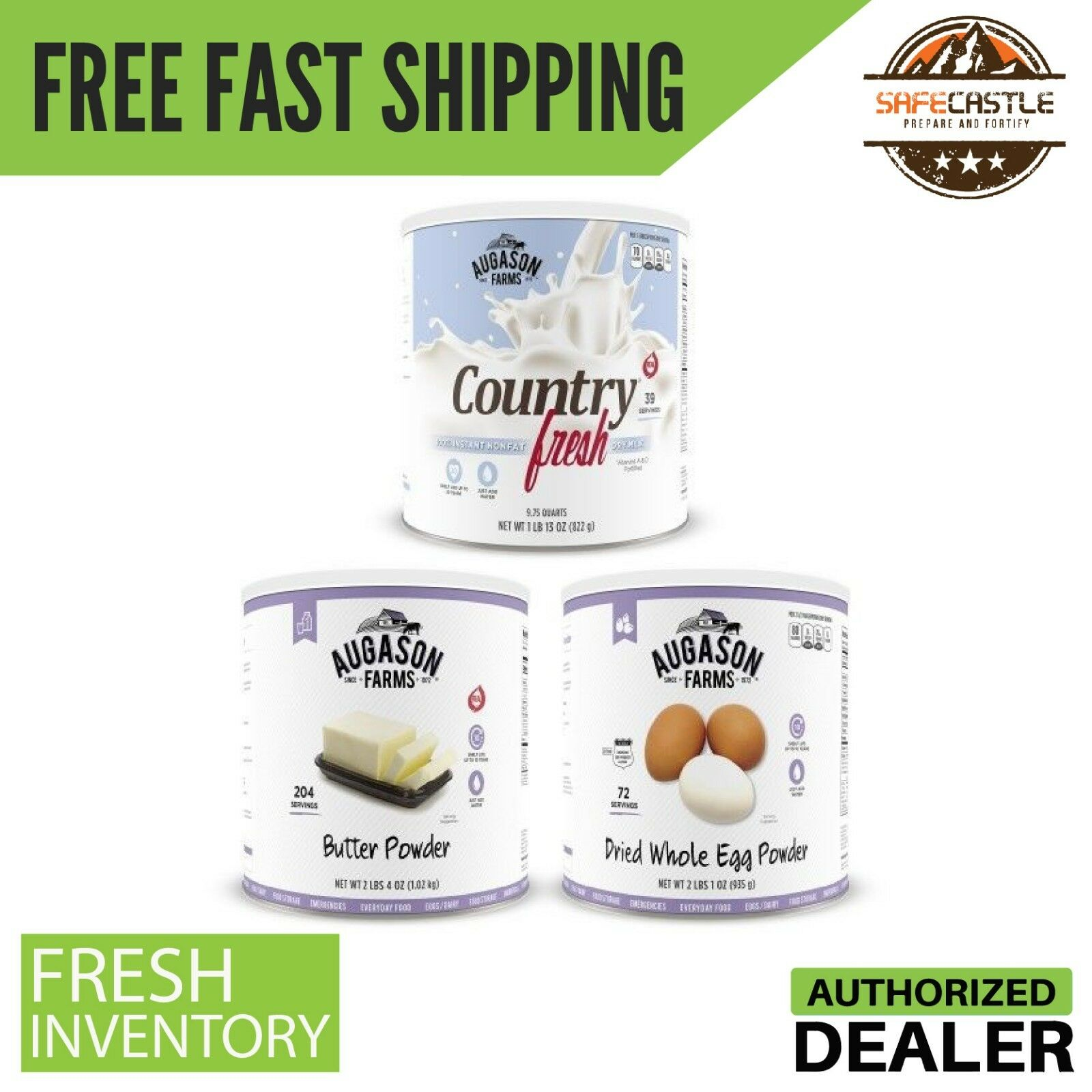 Augason Farms Dairy and Egg Combo 3 Can , Free Shipping