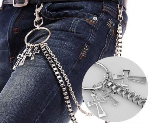Men Double Link Cross Pants Wallet Chains Biker Trucker Punk Jean Key Chain Cool