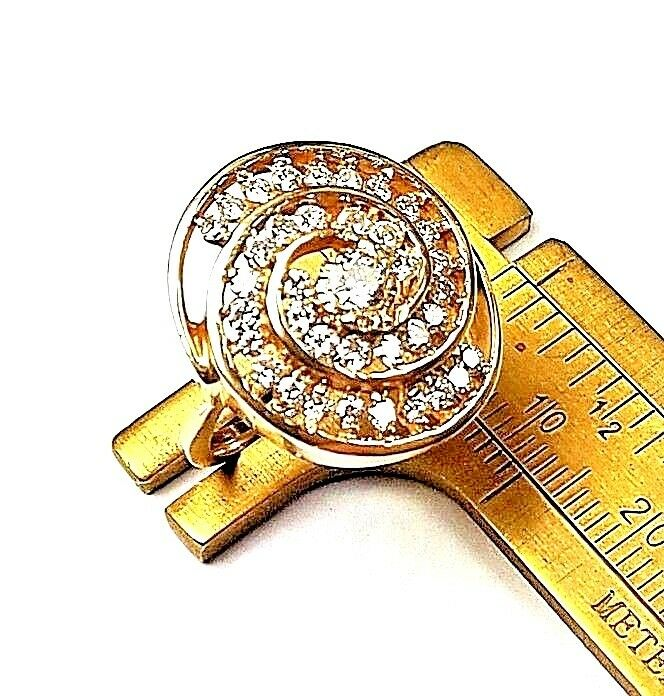 YUMMY DIAMOND PASTRY RING (1.12 CARAT) SWIRL ICING & 14K gold CINNAMON BUN7.49g