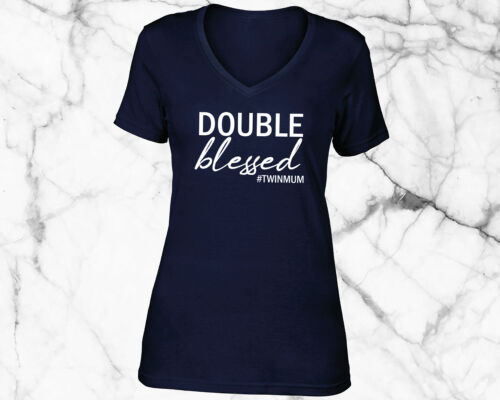 Double Blessed V Neck T Shirt Top Twin Mum Mom Trouble Gift Present Baby Shower