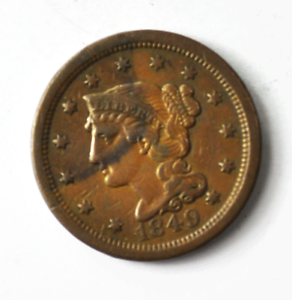 Details about 1849 1c Braided Hair Large Cent Copper Penny Rare US Coin