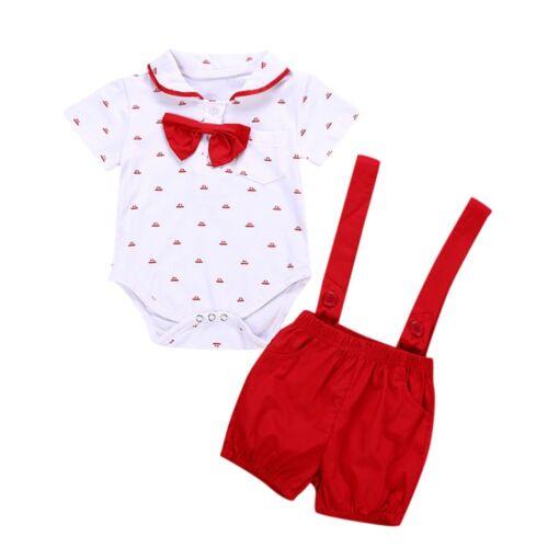 Newborn Kids Baby Boy Toddler Romper Shirt+Bib Short Pants Overalls Outfits Set