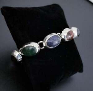 VTG-Sterling-Silver-TAXCO-Chunky-Multi-Stone-Cabochon-Link-Bracelet-7-25-034-39g