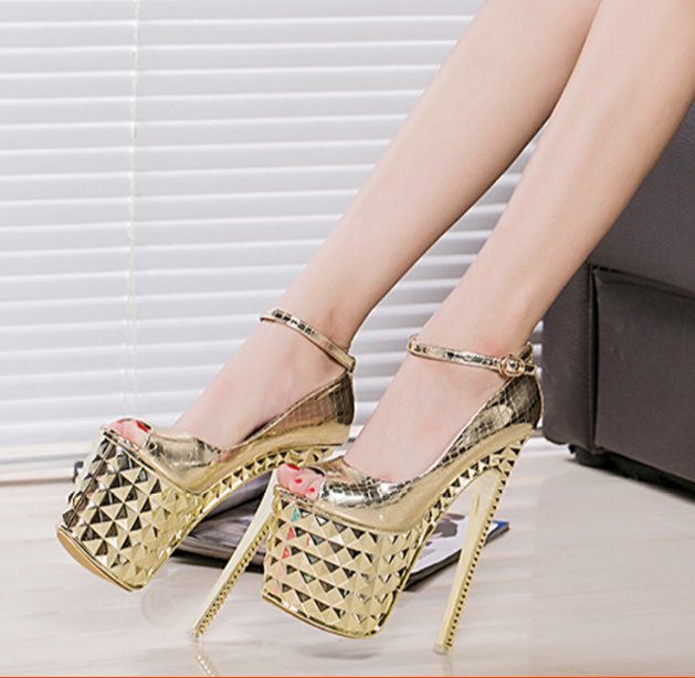 Women's Sexy Platform Super High Peep Toe Party High Heels Ankle Buckle shoes