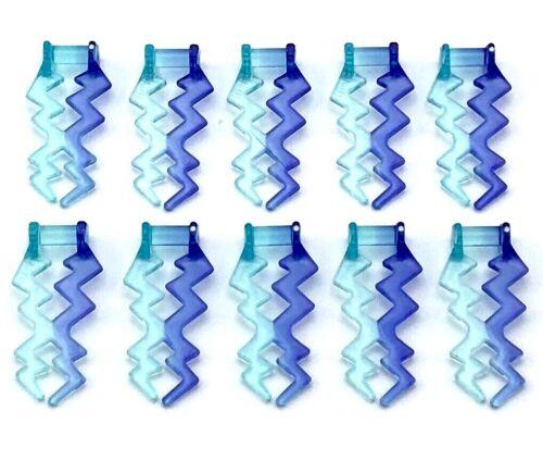 Lego 10 New Trans-Light Blue Wave Angular Electric Zigzag Castle Magic Spark