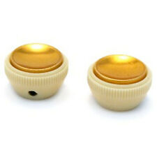NEW Hofner Set of 2 Tea Cup Teacup Knobs for Beatle Bass Guitar - CREAM & GOLD