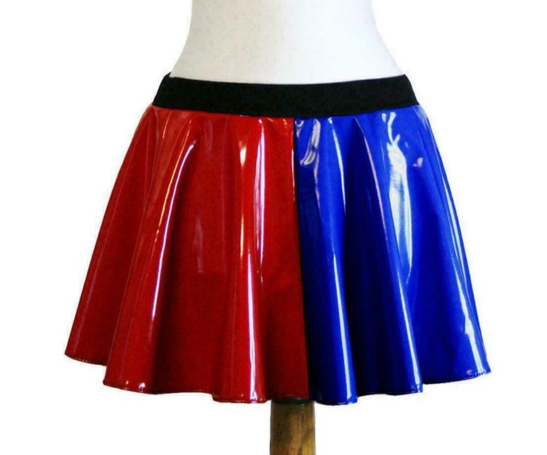 New Ladies Harley Quinn Suicide Squad Jester Metallic Skater Skirt for Women ..