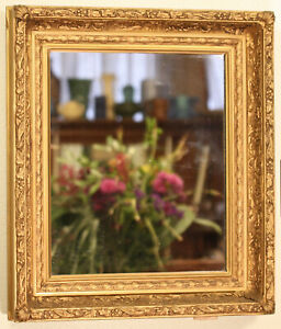 ANTIQUE GOLD GILT AND GESSO WOOD FRAME COVE MIRROR