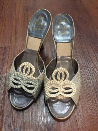 Vintage 1950s Springolators peep toe heel shoes si