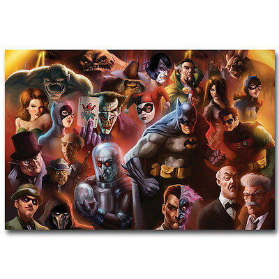 Batman DC Superheroes Comic Silk Fabric Poster 12x18 24x36inch Catwoman Joker