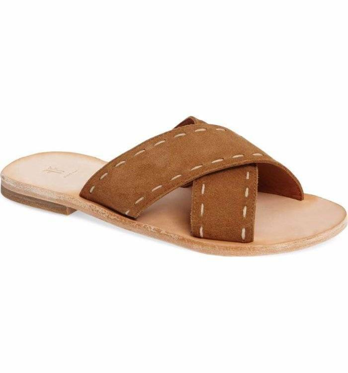 FRYE Avery Pickstitch Crisscross Slide Sandals shoes Suede Suede Suede Leather Tan 8.5  158 bc9eb0