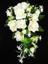 Wedding Artificial Silk Flowers Rose Stephanotis Berry Tailed Bridal Bouquet
