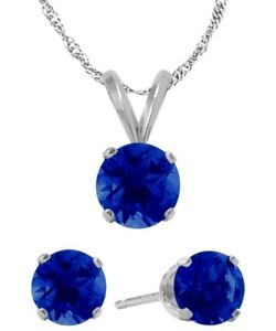 14K WG Genuine 1.80tcw. Sapphire Solitaire Pendant and Earrings Set
