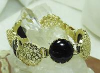 Hsn Noa Zuman Black Onyx Filigree Technibond Gold Plated Sterling Israel 7