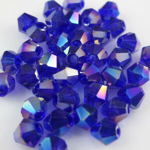 NEW-100pcs-4mm-Blue-AB-Glass-Crystal-5301-Bicone-beads-DIY-free-shipping-DIY-WZ