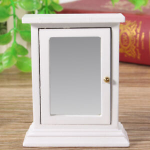 1-12-Scale-Doll-House-Miniature-Wooden-Furniture-Bathroom-Cabinet-Toilet-Mirror