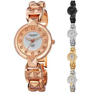 Women-039-s-Akribos-XXIV-AK755-Swiss-Diamond-Mother-of-Pearl-Dial-Bracelet-Watch