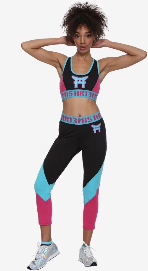 READY PLAYER ONE ARTEMIS XL LOW IMPACT SPORTS BRA ACTIVE CAPRIS OFFICIAL NWT NEW