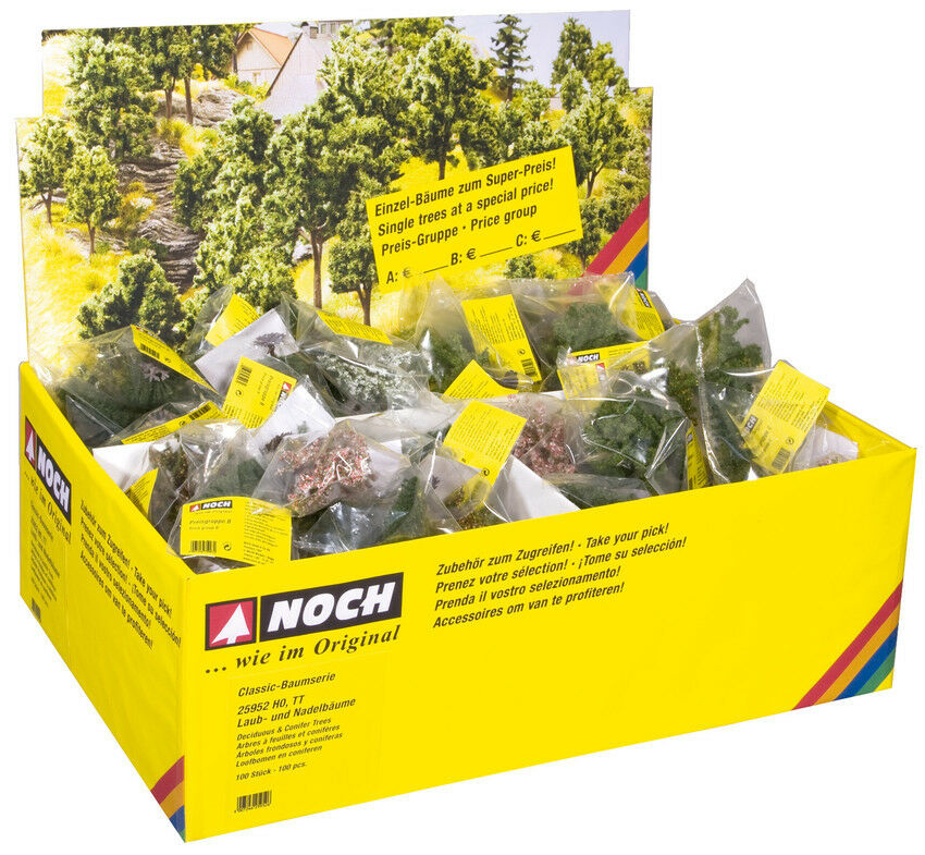Noch 25952 gauge H0, TT, 100 Deciduous and Conifers with Tree Bases,