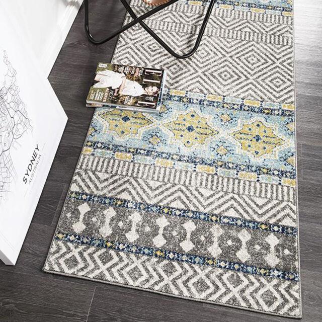 Carsten Ivory Blue Geometric Moroccan Modern Floor Rug 300x400cm For Sale Online Ebay