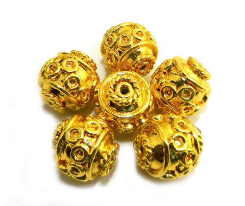 12 PCS 10MM BALI BEAD 18K GOLD PLATED  22 PC141